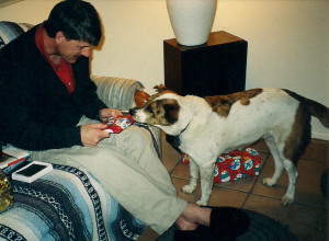 Savanna, shown here in December 2001, loved to open presents